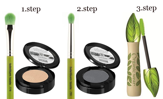 Step by step eye make-up in grey