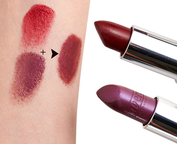 Violet and red lipsticks