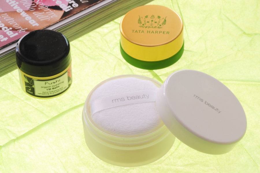 tata harper volumizing lip and cheek tint, RMS Beauty Loose Tinted 'Un' Powder, Fushi Organic Hydrating Lip Balm