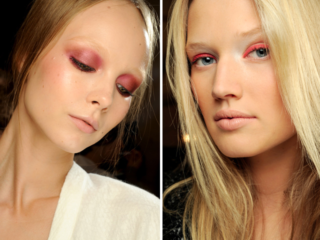Rose on the eyes: smoky eye and eye liner (Nina Ricci and Derek Lam)