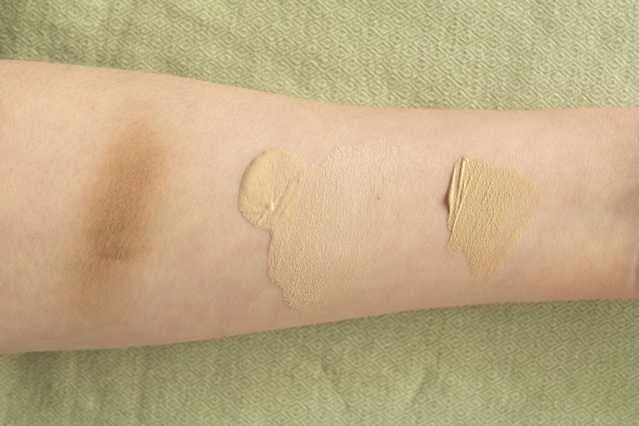 purobio cosmetics swatches of bb cream, concealer and bronzer